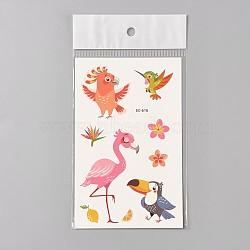 Faux tatouages temporaires amovibles, imperméable, autocollants papier de dessin animé, oiseau, colorées, 120~121.5x75mm(AJEW-WH0061-B13)