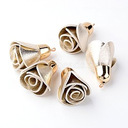 Décorations de pendentif en cuir PU, fleur rose, avec des accessoires en plastique CCB, or, lightgoldenrodyellow, 45~48x30mm, Trou: 2mm(CCB-L003-07)