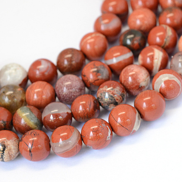 Natural Red Jasper Round Bead Strands, 6~6.5mm, Hole: 1mm, about 63pcs/strand, 15.5 inches(X-G-E334-6mm-27)