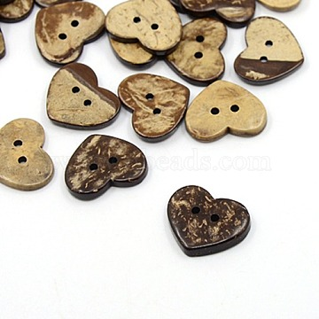 Coconut Buttons, 2-Hole, Heart, Coconut Brown, 17x20x4mm, Hole: 1.5mm(X-COCO-I002-059)