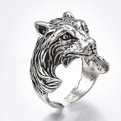 Bagues de manchette en alliage, anneaux large bande, loup, argent antique, taille 9, 19.5mm(RJEW-T006-34)