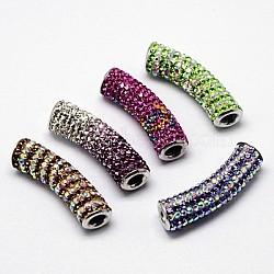 Strass argent sterling perles paver, avec de l'argent sterling supports de tube incurvé, couleur platine, couleur mixte, 35x9mm, Trou: 3mm(RB-D048-01)