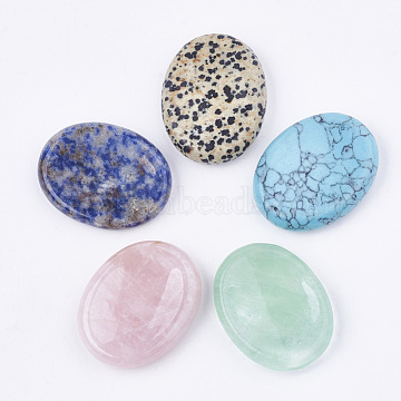 Natural/Synthetic Mixed Gemstone Massager, Worry Stone, Oval, 44~45x34~35x9~10mm(G-S336-64)