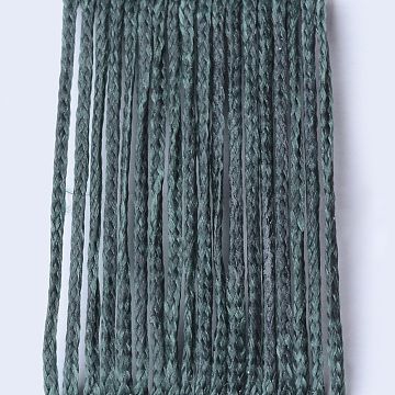 Eco-Friendly Waxed Polyester Cord, Sea Green, 1mm, about 109.36 yards(100m)/roll(YC-Q003-131)