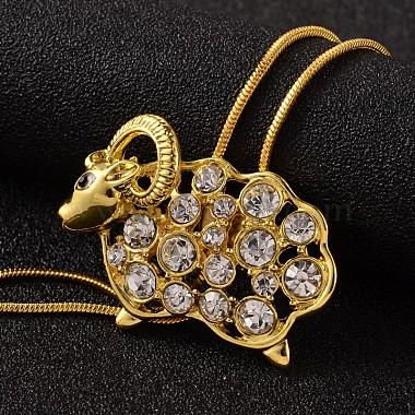 Sheep Long Adjustable Alloy Rhinestone Lariat Necklaces(NJEW-F194-04G)-3