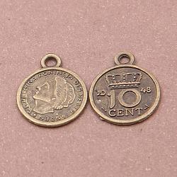 Pendentifs en alliage de style tibétain, plat rond étiquette volante, pendentifs de pièces, bronze antique, 19x15mm(X-PALLOY-N0118-029)