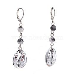 Boucles d'oreilles dormeuses à quartz tourmalinées naturelles / quartz rutile noir, facette, avec des perles de coquillages, clou tête boule en fer et accessoires de dormeuse en laiton, 57~60mm, pendentif: 18~19x13~13.5x6~7 mm(EJEW-JE02819-02)