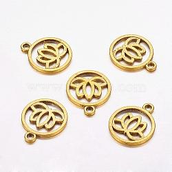 Pendentifs en alliage en filigrane de style tibétain, plat rond de lotus, sans plomb et sans nickel, Or antique, 24x20x1.5mm, Trou: 2.3mm(X-TIBEP-5354-AG-FF)