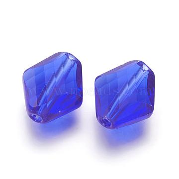 14mm RoyalBlue Rhombus Glass Beads
