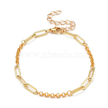 Brass Paperclip & Rolo Chain Bracelets, with 304 Stainless Steel Lobster Claw Clasps, Golden, 7.48 inches(19cm)(BJEW-JB05321)