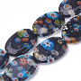 25mm MidnightBlue Oval Lampwork Beads(LAMP-T005-07)