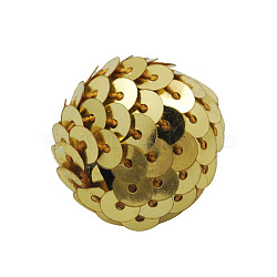 Handmade Woven Beads, Acrylic Bead wrapped with Paillette, Round, Gold, 22x20mm, Hole: 3mm(X-CR178Y-2)