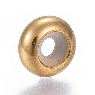 304 Stainless Steel Beads, with Rubber Inside, Slider Beads, Stopper Beads, Rondelle, Golden, 10x4.5mm, Hole: 5mm; Rubber Hole: 3mm(X-STAS-P242-05G)