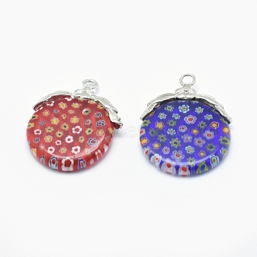 Handmade Millefiori Glass Pendants, with Brass Findings, Flat Round with Flower, Platinum, Mixed Color, Platinum, 35~41x28~30x6mm, Hole: 3mm(X-LAMP-O016-07P)