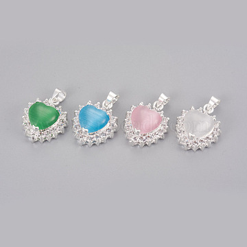 Cat Eye Pendants, with Rhinestone and Brass Findings, Heart, Silver Color Plated, Mixed Color, 19x15x8mm, Hole: 4mm(KK-F793-42)