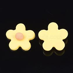 Cabochons en pâte polymère manuels, fleur, or, 24x24x8.5mm(CLAY-S091-17G)