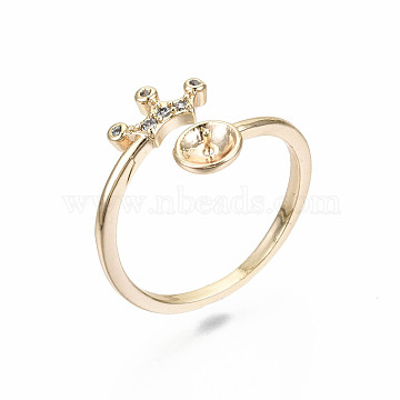Brass Micro Pave Clear Cubic Zirconia Peg Bails Cuff Finger Ring Settings, for Half Drilled Bead, Nickel Free, Crown, Real 18K Gold Plated, US Size 7 1/4(17.5mm), pin: 0.7mm(for half drilled bead)(KK-S360-013-NF)