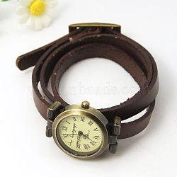 Fashion triple wrap leather watch bracelets, avec des composants de montres en alliage, bronze antique, coconutbrown, 610~620x9x6mm(X-WACH-G009-06)