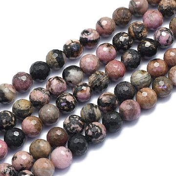 Natural Rhodonite Beads Strands, Round, Faceted(128 Facets), 8mm, Hole: 1.2mm; about 49pcs/strand, 15.16 inches(38.5cm)(G-K310-A12-8mm)