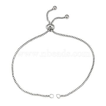 Adjustable 304 Stainless Steel Slider Bracelets Making,Bolo Bracelets, with 202 Stainless Steel Beads, Stainless Steel Color, Single Chain Length: about 12cm(X-STAS-T050-031P)
