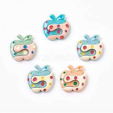 (Defective Closeout Sale), Resin Cabochons, Apple, LightSkyBlue, 27~27.5x27~27.5x6.5~7.5mm(CRES-XCP0000-01A)