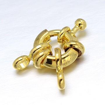 Brass Spring Ring Clasps, Golden, 11x5mm, Hanger Link: 8.5x4.5x1.5mm, Hole: 2mm(KK-L082B-01G)