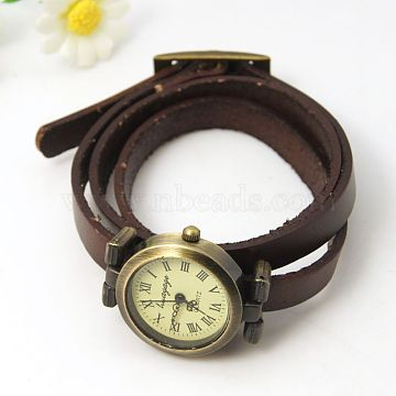 CoconutBrown Leather+Alloy Electronic Watch