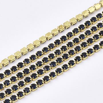 Nickel Free Raw(Unplated) Brass Rhinestone Strass Chains, Rhinestone Cup Chain, 2880pcs rhinestone/bundle, Grade A, Montana, 2.2mm, about 23.62 Feet(7.2m)/bundle(CHC-R119-S6-05C-1)