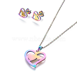304 Stainless Steel Jewelry Sets, Stud Earring and Pendant Necklaces, Heart, Rainbow, Multi-color, 17.7 inches~18.1 inches(45~46cm); 10x11mm; Pin: 0.8mm(X-SJEW-L141-080M)