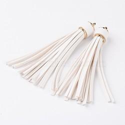 Многофункциональная кожзаменитель кисточки мобильные ремни, со сплавочной фурнитурой, золотые, белые, 105x15 мм(MOBA-L002-08)
