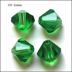 imitation perles de cristal autrichien, AAA grade, facettes, Toupie, vert, 6x6 mm, trou: 0.7~0.9 mm(SWAR-F022-6x6mm-218)