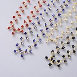 """Colliers ras du cou en perles de verre, avec fermoirs pince de homard en laiton et chaînes torsadées en fer, or, couleur mixte, 13.3"""" (33.8cm); 12mm(NJEW-JN02500)"""
