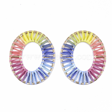 65mm Colorful Oval Raffia Linking Rings