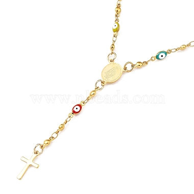 Unisex 304 Stainless Steel Rosary Bead Necklaces(NJEW-L457-002G)-1