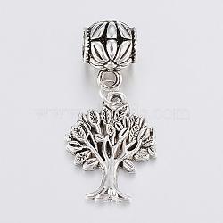 alliage de style tibétain européennes perles balancent, sans plomb et sans cadmium, arbre de la vie, argent antique, 37 mm, trou: 5 mm; Pendentif: 22x17x2.5 mm(X-TIBE-F002-91AS-RS)