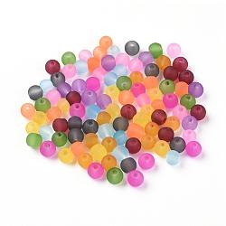 Perles en verre dépolies, couleur mixte, rond, environ 4 mm de diamètre, Trou: 1mm