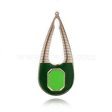 Light Gold Plated Iron Enamel Pendants, Lady Bag Big Pendants, Green, 80x34x1mm, Hole: 1mm(IFIN-J064-03KCG)
