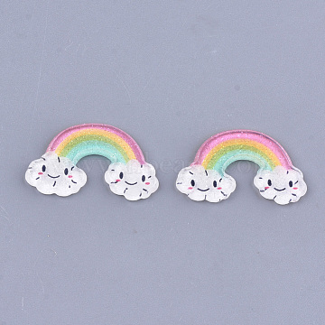 Plastic Cabochons, with Glitter Powder, Rainbow, Colorful, 16x26.5x2mm(X-KY-T010-15A)