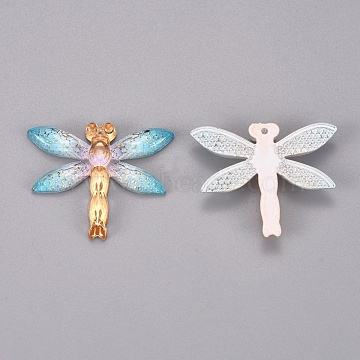 Plastic Pendants, Dragonfly, Colorful, 26.5x31.5x4.5mm, Hole: 1.2mm(KY-TAC0005-03C)