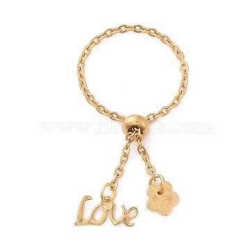 Adjustable 304 Stainless Steel Finger Rings, Promise Ring, Slider Rings, Word Love and Flower, Golden, 96mm(RJEW-JR00284-02)