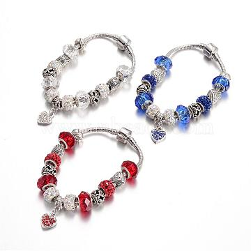 Alloy Rhinestone Bead European Bracelets, with Glass Beads and Brass Chain, Mixed Color, 190mm(BJEW-L602-12)