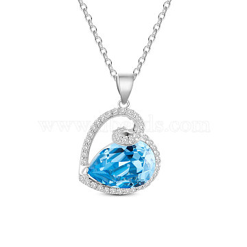 457mm Clear Sterling Silver+Austrian Crystal Necklaces
