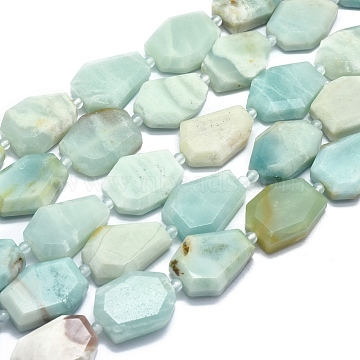 Natural Amazonite Beads Strands, Flat Slab Beads, Nuggets, Faceted, 24.5~26x18.5~21.5x7.5~8mm, Hole: 2mm; about 13pcs/strand, 14.7 inches~14.9 inches(G-O178B-06)