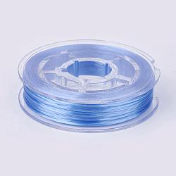 chaîne de cristal élastique plat, fil de perles élastique, pour la fabrication de bracelets élastiques, cornflowerblue, 0.4 mm, 15 m / rouleau(EW-G010-A01)