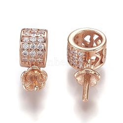Soutiens-gorge micro pavé zircon cubique tasse perle cheville bails broches pendentifs, pour la moitié de perles percées, anneau, clair, or rose, Plateau: 3 mm, 18x8x5mm, pin: 0.9 mm(KK-P170-08RG)
