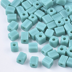 6/0 perles de rocaille en verre, trou rond, cube et cuboïde, darkturquoise, 3~7x3.5x3.5mm, trou: 1.2 mm; environ 4500 PCs / sachet (SEED-S026-01A-04)