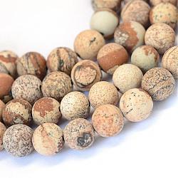 """Chapelets de perles rondes en jaspe mat avec image naturelle, 8~8.5mm, trou: 1mm; environ 47 pcs/chapelet, 15.5""""(G-E334-8mm-26)"""