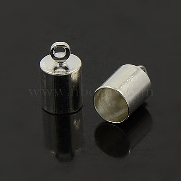 Brass Cord Ends, Nickel Free, Silver Color Plated, 9.5x6mm, Hole: 1.1mm; 5.5mm inner diameter(X-KK-EC041-S-NF)