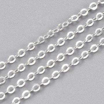 Brass Cable Chains, Soldered, Flat Oval, Silver Color Plated, 2.5x2x0.3mm(X-CHC-S006-03C)
