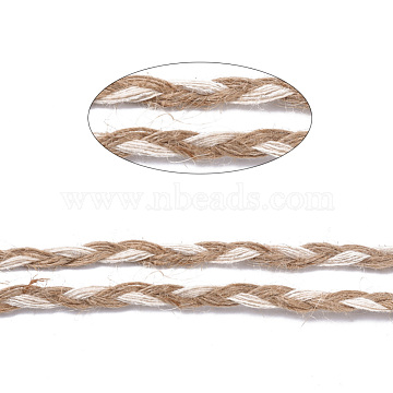 Braided Burlap Ribbon, Hemp Ribbon, Jute Ribbon, for DIY Home Decoration and Gift Wrap, Tan, 1/4inch(5~6mm); about 100yards/roll(91.44m/roll)(OCOR-TAC0009-03)